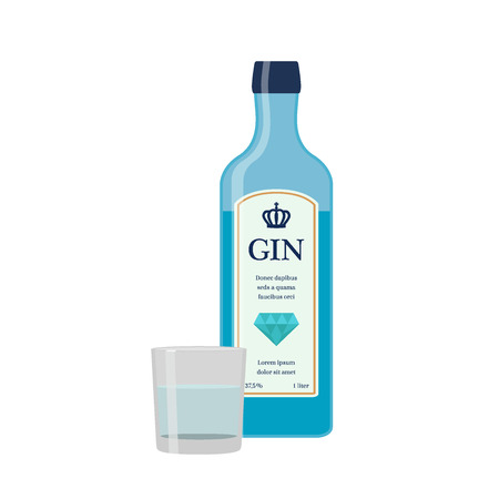 Traditional dry gin in blue bottle. Alcohol drink in flat vector style. Stock Illustratie