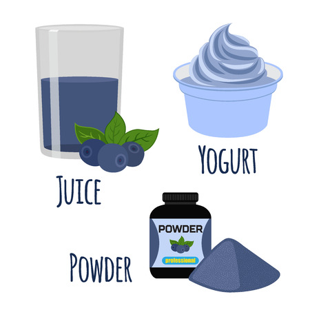 amazon: Super food acai berry in juice and powder. Exotic fresh amazon nutrition. Flat vector style.