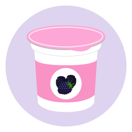 Blackberry yogurt in plastic cup. Milk cream product. Flat style Illustration