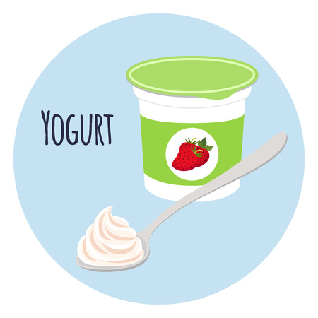 Strawberry yogurt in plastic cup with spoon. Milk cream product in flat vector style.