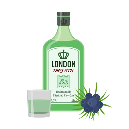 Traditional dry gin in green bottle with juniper. Alcohol drink in flat vector style.