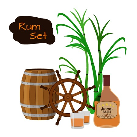 Alcohol drink, rum, glass, barrels, helm and sugarcane. Jamaica rum in flat style design. Vector illustration. Liquor for pubs restaurants hipster bars.