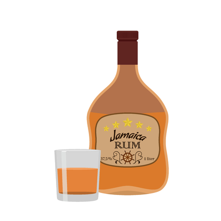 bourbon: Alcohol drink, rum with glass. Jamaica rum in flat style design. Vector illustration. Liquor for pubs restaurants hipster bars