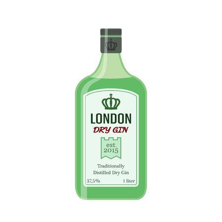 Ginebra seca tradicional en botella verde. Bebida del alcohol en estilo plano del vector.