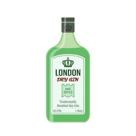 Traditional dry gin in green bottle. Alcohol drink in flat vector style.
