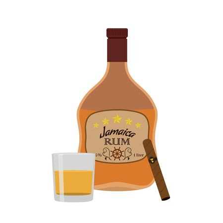 Alcohol drink, rum, cigar with glass. Jamaica rum in flat style design. Vector illustration. Liquor for pubs restaurants hipster bars.