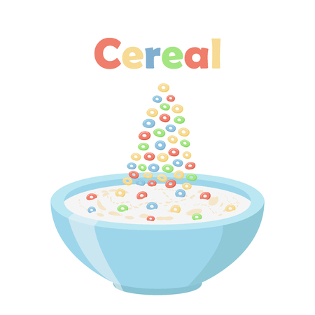 cereal bowl: Cereal rings, oatmeal breakfast with milk, organic muesli. Flat vector style.