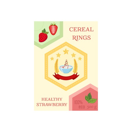 cereal bowl: Cereal rings with strawberry in box. Oatmeal breakfast with milk, organic muesli. Flat vector style.