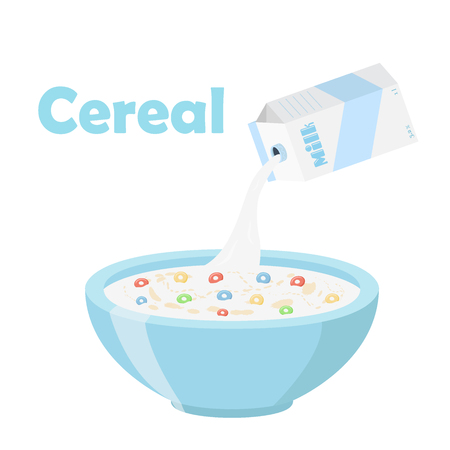 Cereal rings, milk in oatmeal breakfast. Organic muesli. Flat vector style. Illustration