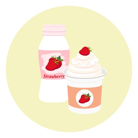 Yogurt healthy cream milk product in plastic container and bottle. Milky nutrition diet with strawberry, organic food with berries. Illustration