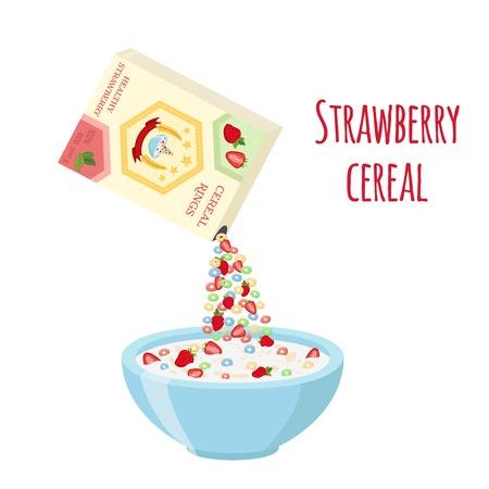 시리얼 반지 상자, 그릇에 딸기. 오트밀 아침 우유, 유기농 뮤 즐리로. 플랫 벡터 스타일입니다.