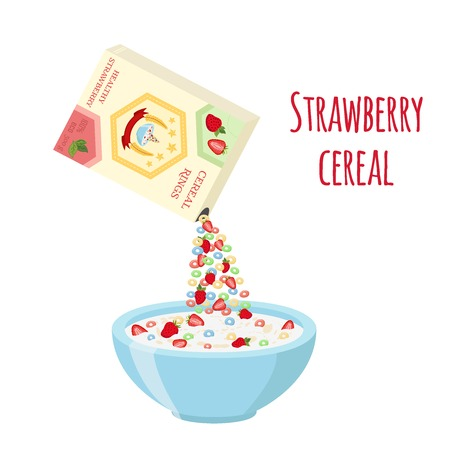 Cereal rings box, strawberry with bowl. Oatmeal breakfast with milk, organic muesli. Flat vector style.