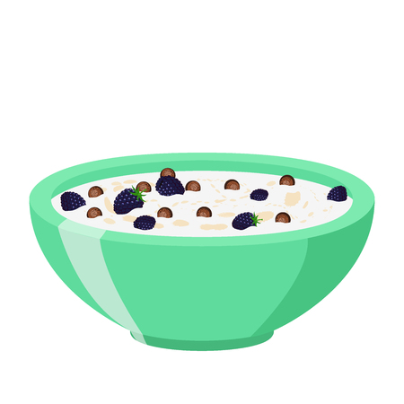 Cereal chocolate balls with blackberry. Milk in oatmeal breakfast. Organic muesli. Flat vector style.