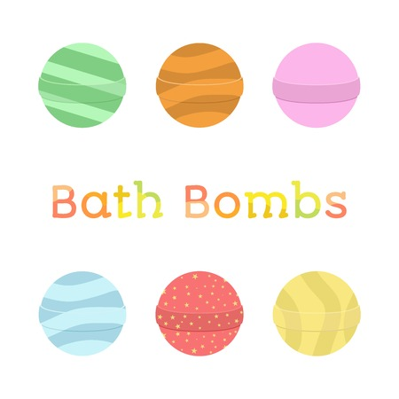 Bath bomb cartoon set. Nature organic soap, aromatherapy, heathcare, hygiene. Flat style.