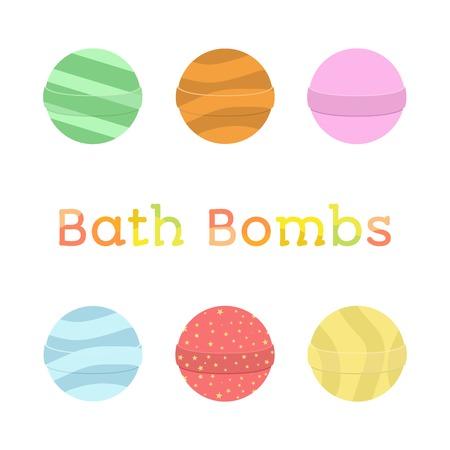 Bath bomb cartoon set. Nature organic soap, aromatherapy, heathcare, hygiene. Flat style.
