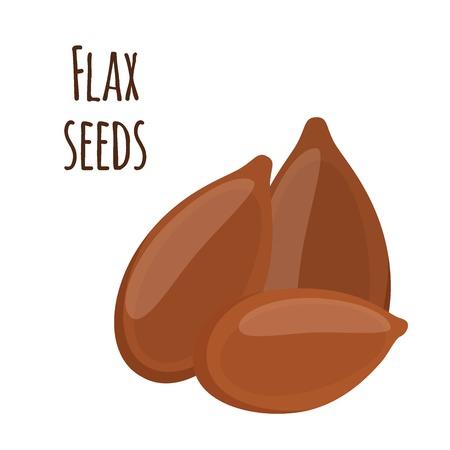 Flax seeds, linseed. Brown seed, organic vegetarian food. Cereal, crop. Flat vector style.