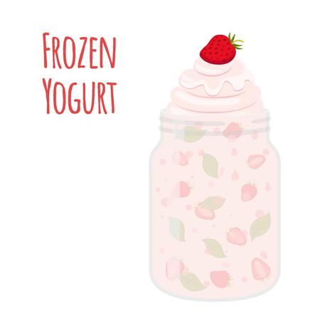 Frozen yogurt with strawberry in mason jar. Dessert, sweet food cup. Cartoon flat style.