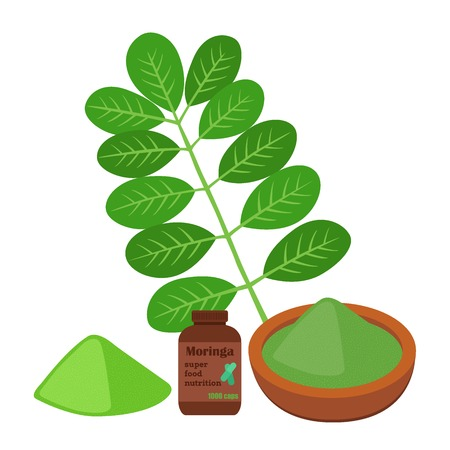 Moringa, vegetarian superfood. Healthy nutrition. Herb, vegetable, powder, pills. Cartoon flat vector style.