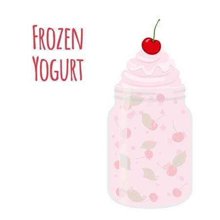 Frozen yogurt with cherry in mason jar. Dessert, sweet food cup. Cartoon flat style.