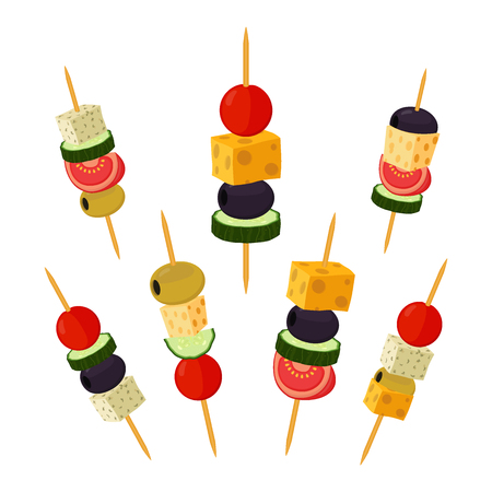 Canapes, tapas in cartoon flat style. Buffet, restaurant food, appetizer, snack. Olive, ham, cheese, brie, tomato, cucumber and other vegetables, meat.
