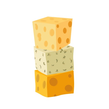 Three types of cheese. Cheddar, parmesan, danablue, roquefort. Dairy milky product. Cartoon flat style.