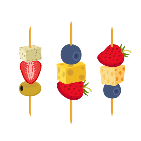 dessert buffet: Fruit, berries canapes. Snack, appetizer for restaurants, buffet. Cartoon flat style.