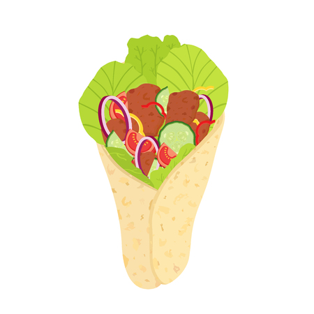 Turkish shawarma, arabic fried meat and vegetables. Isolated fastfood. Cartoon flat style. Cucumber, tomato, bell pepper, salad, onion.