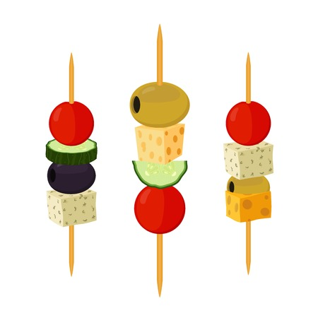 Canapes, tapas in cartoon flat style. Buffet, restaurant food, appetizer, snack. Olive, ham, cheese, brie, tomato, cucumber and other vegetables, meat. Ilustração