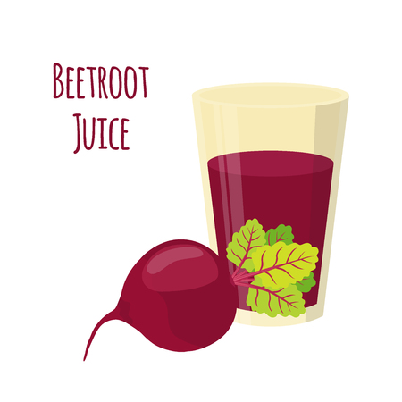 borscht: Beetroot juice, beetroot and slices. Cartoon flat style. Vegetarian fresh raw food. Illustration