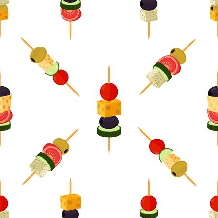 Canapes, tapas sin patrón. Estilo plano de la historieta. Buffet, restaurante, comida, aperitivo, merienda. Oliva, jamón, queso, brie, tomate, pepino y otras verduras, carne.