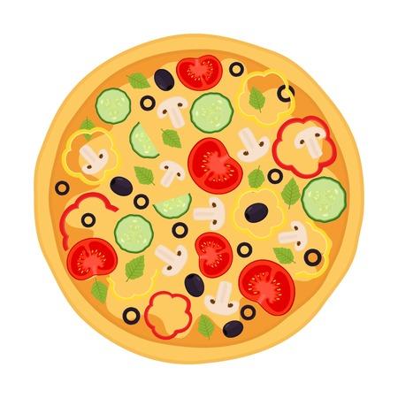 margherita: Vegetarian pizza, margherita with tomato, pepper, cucumber, mushroom, olive, basil. Cartoon flat style.