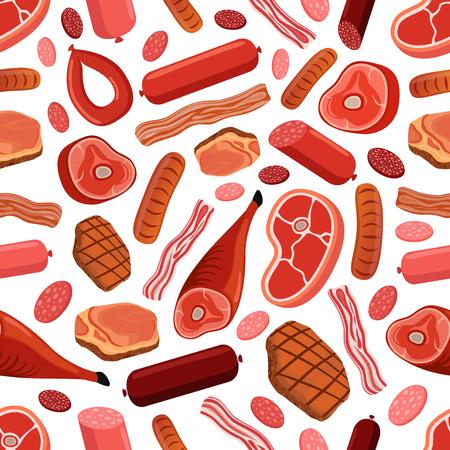 Meat seamless pattern - sausages, salami, pork, bacon, steak, beef, ham. Made in cartoon flat style. Illustration