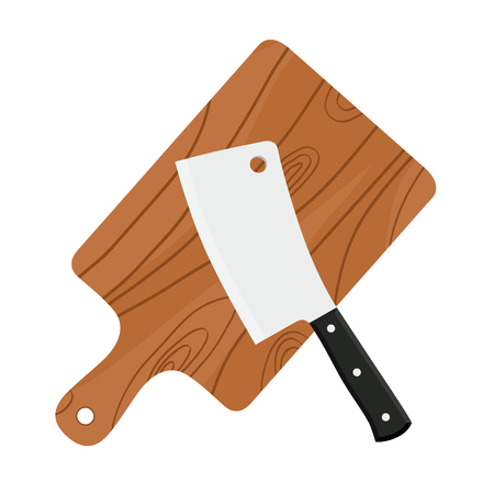 Cleaver, butchers sharp knife for chopping meat with cutting board. Made in cartoon flat style.