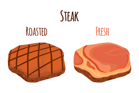 raw chicken: Roasted and fresh steak, beef, pork. Slice of fried and raw meat. Cartoon flat style.