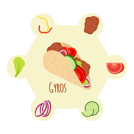 Gyros ingredients, meat, cucumber, tomato, salad, onion, bell pepper and other. Grilled meat, Greece fastfood. Cartoon flat style. Illustration