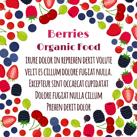 cowberry: Cartoon berries menu. Raspberry, blackberry, gooseberry, red currant, black currant, strawberry, blueberry. Flat vector style.