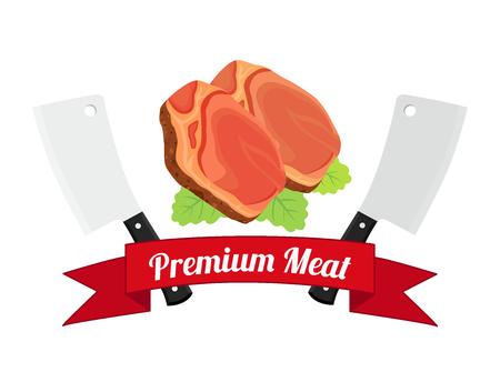 Logotipo de carne, etiqueta para menú, restaurantes, carnicerías. Carne fresca, carne de res, cerdo. Hecho en estilo plano de dibujos animados con cintas. Foto de archivo - 79260034