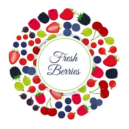 cowberry: Cartoon berries menu. Raspberry, blackberry, gooseberry, red currant, black currant. Flat vector style.