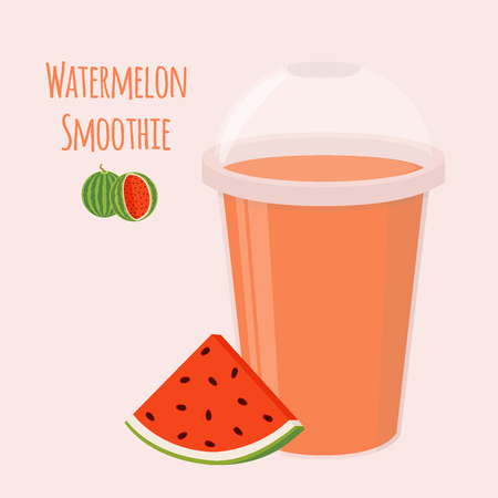 Watermelon detox drink, healthy smoothie. Vegetarian nutrition. Made in cartoon flat style.