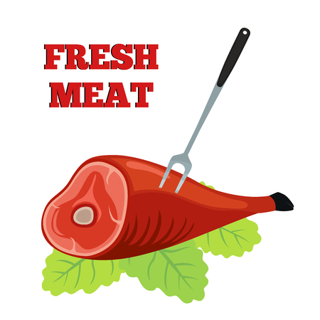 Fresh meat label. Pork, ham with barbecue fork. Made in cartoon flat style.