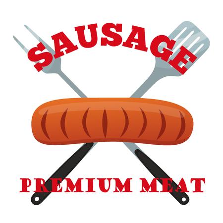 Premium meat label. Pork, ham, barbecue fork, spatula. Made in cartoon flat style.