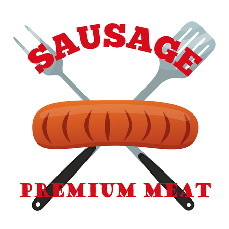 raw chicken: Premium meat label. Pork, ham, barbecue fork, spatula. Made in cartoon flat style.