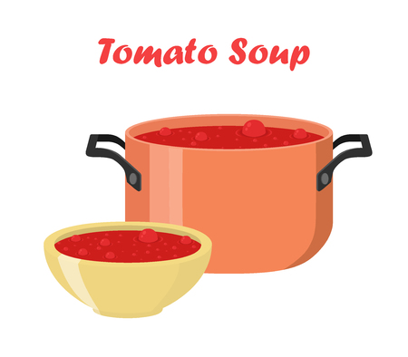 Tomato soup in bowl and dish. Hot meal with vegetables, meat. Cartoon flat style.