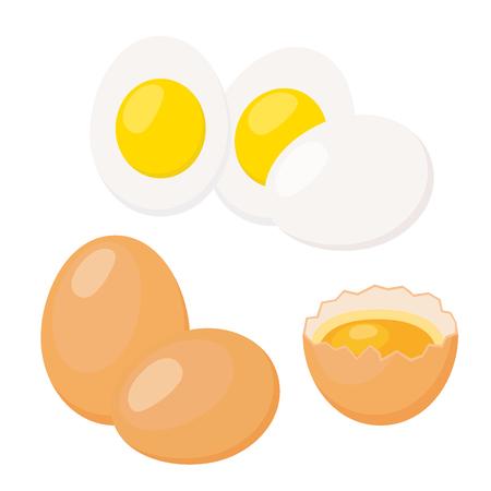 Eggs in cartoon flat style. Broken egg, eggshell with yolk, boiled eggs. Healthy protein nutrition. Brown farm egg.