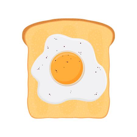 Fried egg on baked toast, bread. Breakfast made in cartoon flat style.