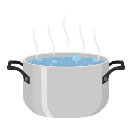 Boiled soup in pot. Hot meal with vegetables, meat. Cartoon flat style. Illustration