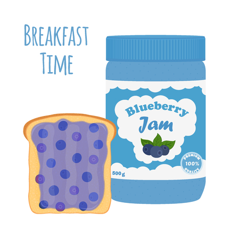 mason: Blueberry jam in glass jar, toast with jelly. Made in cartoon flat style. Healthy nutrition. Illustration