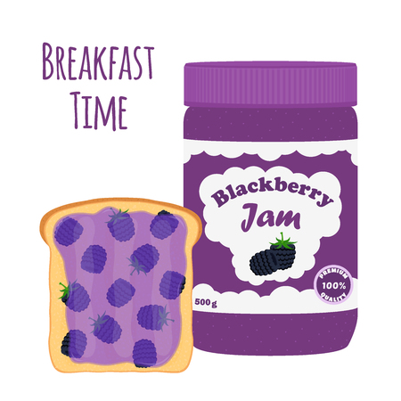 mason: Blackberry jam in glass jar, toast with jelly. Made in cartoon flat style. Healthy nutrition.