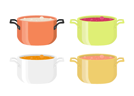 Various soups in pots. Hot meal with vegetables, meat. Cartoon flat style.