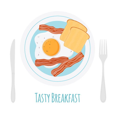 Healthy breakfast - bacon, egg, toast. Fried bread, meat with fork and knife made in cartoon flat style.
